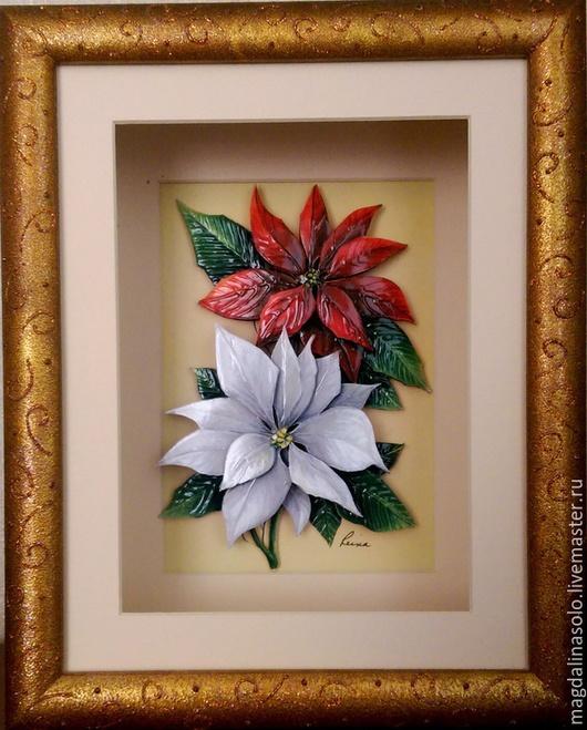 """Картины цветов ручной работы. Ярмарка Мастеров - ручная работа. Купить Объёмное панно """"Пуансетия"""". Handmade. Объемная картина, подарок"""