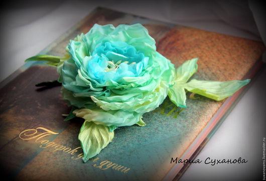"""Броши ручной работы. Ярмарка Мастеров - ручная работа. Купить Шелковая роза """"Бирюза"""". Handmade. Бирюзовый, мятный цвет, брошь"""