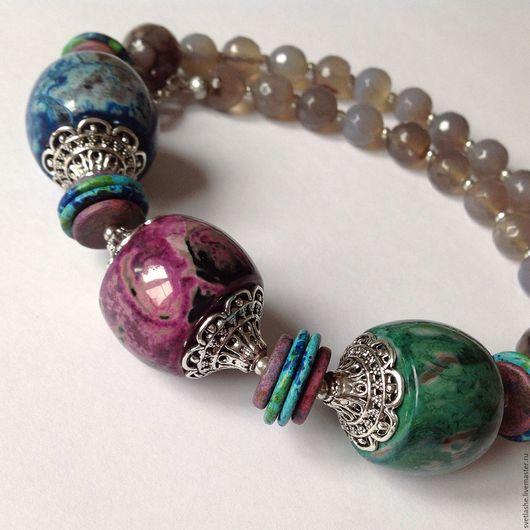 Крупные бусы колье из натуральных камней купить украшение на шею из Агата в подарок