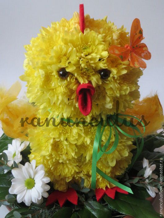 """Букеты ручной работы. Ярмарка Мастеров - ручная работа. Купить Игрушка из цветов """"Цыпленок"""". Handmade. Желтый, игрушка из живых цветов"""