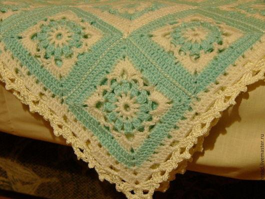 Пледы и одеяла ручной работы. Ярмарка Мастеров - ручная работа. Купить Плед для малыша. Handmade. Мятный, плед для малыша