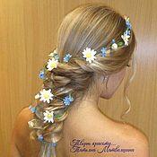 Украшения handmade. Livemaster - original item Long hair wreath Daisies and forget me nots. Decoration for hair.. Handmade.