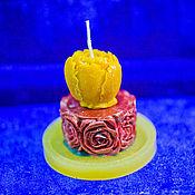 """Свечи ручной работы. Ярмарка Мастеров - ручная работа Свечи: свеча """"Бутон розы"""" с подставкой. Handmade."""