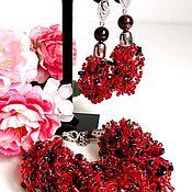 Украшения handmade. Livemaster - original item Air bracelet and earrings with natural garnet and black agate. Handmade.