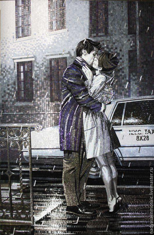 Люди, ручной работы. Ярмарка Мастеров - ручная работа. Купить Панно из мозаики Поцелуй. Handmade. Темно-серый, поцелуй, дождь