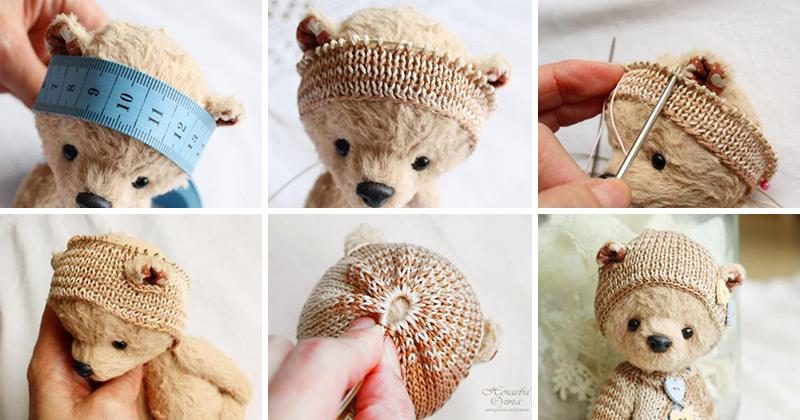 Как связать шапочку для мишки крючком