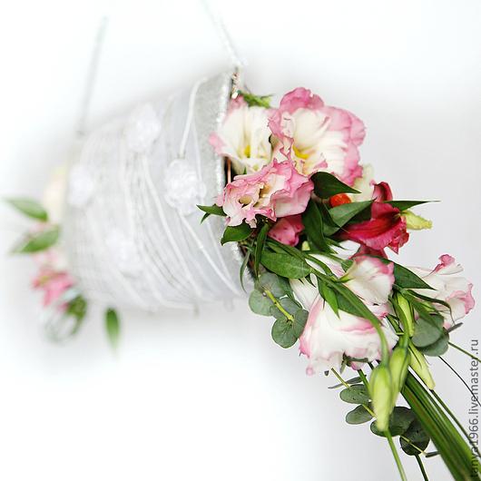 Свадебные цветы ручной работы. Ярмарка Мастеров - ручная работа. Купить Букет невесты сумочка серебряная. Handmade. Серебряный, альстромерия