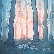 Картины и панно ручной работы. Ярмарка Мастеров - ручная работа Батик картина панно  Рассвет в сумеречном лесу. Картина на шелке. Handmade.