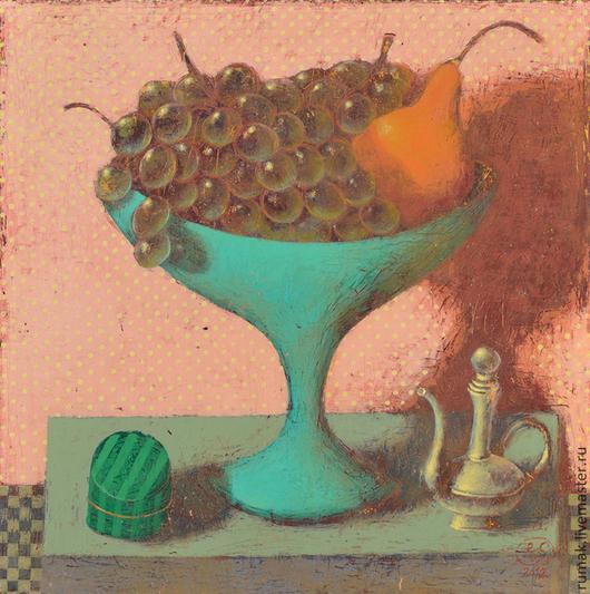 Натюрморт ручной работы. Ярмарка Мастеров - ручная работа. Купить виноград в голубой вазе. Handmade. Розовый, авторская работа, Живопись