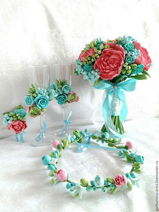 Букет невесты, букет для невесты ,свадебные цветы ,цветы на свадьбу, букет для невесты ,букет из глины ,букет из полимерной глины, веночек из полимерной глины ,венок, венок и букет для невесты, букет