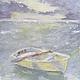 Пейзаж ручной работы. Ярмарка Мастеров - ручная работа. Купить Лодка №2. Handmade. Живопись, голубой, картина, Декор, небо