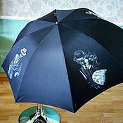 Аксессуары handmade. Livemaster - original item Umbrella with painted black General`s umbrella. Detective. Painting on fabric.. Handmade.