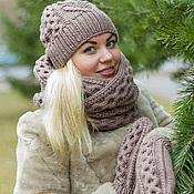 """Аксессуары ручной работы. Ярмарка Мастеров - ручная работа Комплект вязаный """"Карамель"""", шарф снуд вязаный и шапка вязаная. Handmade."""