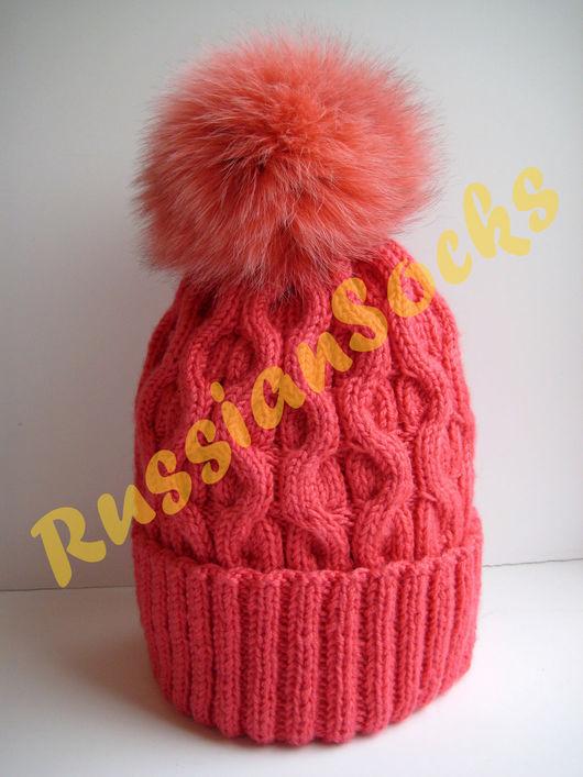 женская вязаная шапка вязанная шапка бини шапка beanie с песцовым помпоном зимняя мода 2016-17 новый год 2017