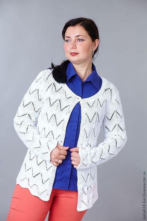 Кофты и свитера ручной работы. Ярмарка Мастеров - ручная работа. Купить ажурная кофточка летняя. Handmade. Белый, спицами, трикотаж