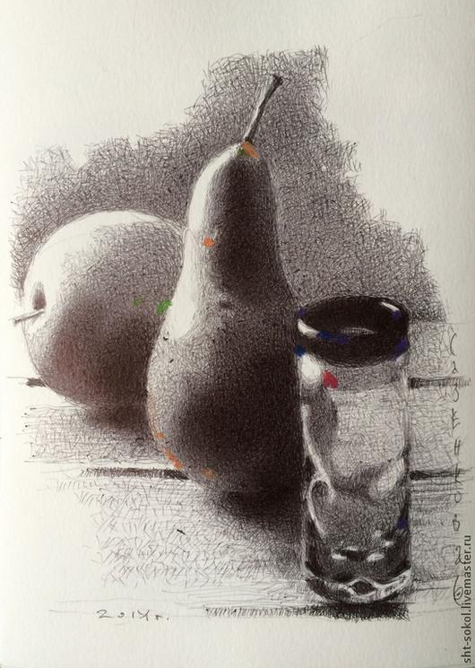 Натюрморт ручной работы. Ярмарка Мастеров - ручная работа. Купить АКЦЕНТЫ. ГРУШКА. СТОПОЧКА. Графика. Handmade. Картина, стеклянная ваза
