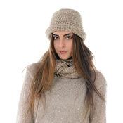 Шапочка Кашемировая Шляпка Клош  и шарф - De Luxe аксессуар