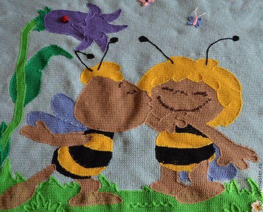 """Детская ручной работы. Ярмарка Мастеров - ручная работа. Купить Плед """"Пчела Майя"""". Handmade. Голубой, плед, плед для девочки"""