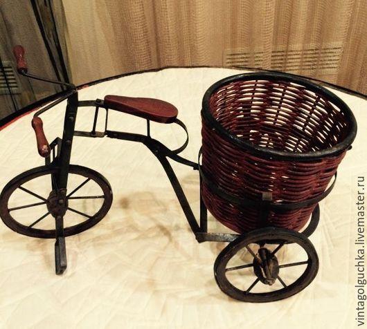 Винтажные куклы и игрушки. Ярмарка Мастеров - ручная работа. Купить винтажный Велосипед с корзиной. Handmade. Коричневый, антикварный, дерево