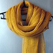 Аксессуары handmade. Livemaster - original item Scarf linen Olive Yellow (72cmx 200cm). Handmade.