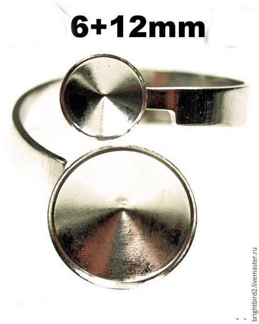 Для украшений ручной работы. Ярмарка Мастеров - ручная работа. Купить Кольцо 6+12 мм родий для  риволи 1122  Сваровски. Handmade.