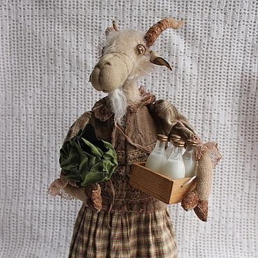 Куклы и игрушки ручной работы. Ярмарка Мастеров - ручная работа Коза Берта текстильная каркасная. Handmade.