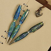 Канцелярские товары handmade. Livemaster - original item Blue opal Ballpoint pen. Handmade.