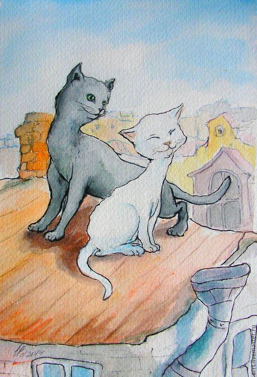 Подарки для влюбленных ручной работы. Ярмарка Мастеров - ручная работа. Купить Влюблённые коты на крыше Принт 13х18см. Handmade. Коты