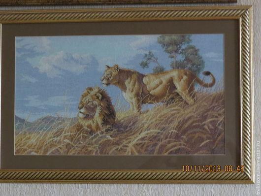 """Животные ручной работы. Ярмарка Мастеров - ручная работа. Купить Вышивка крестом """"Африканские львы"""". Handmade. Львы, Вышивка крестом"""
