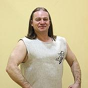 Мужская одежда handmade. Livemaster - original item Linen sports t-shirt with embroidery. Handmade.