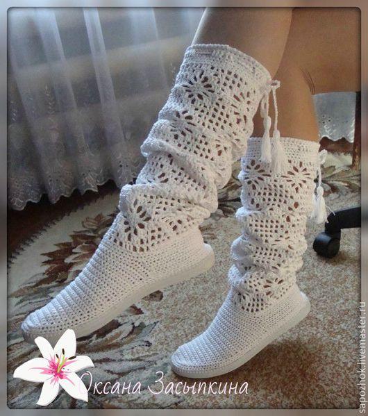 Обувь ручной работы. Ярмарка Мастеров - ручная работа. Купить сапожки вязаные для улицы.связаны из мерсеризованного хлопка Анна. Handmade.