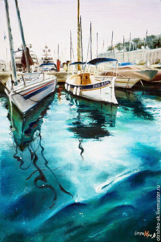 Пейзаж ручной работы. Ярмарка Мастеров - ручная работа. Купить Картина маслом- Монако бухта Тихая 2. Handmade.