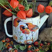 """Посуда ручной работы. Ярмарка Мастеров - ручная работа Чайник интерьерный """"Три птицы"""".для кухни. Handmade."""