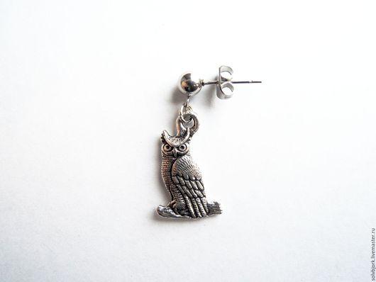 Украшения для мужчин, ручной работы. Ярмарка Мастеров - ручная работа. Купить Серьга мужская (одиночная) «Филин» (серебро, бронза). Handmade.