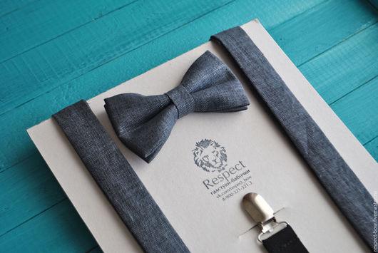 Комплекты аксессуаров ручной работы. Ярмарка Мастеров - ручная работа. Купить Темно серая галстук бабочка + Подтяжки темно-серый лен / Набор Вестерн. Handmade.