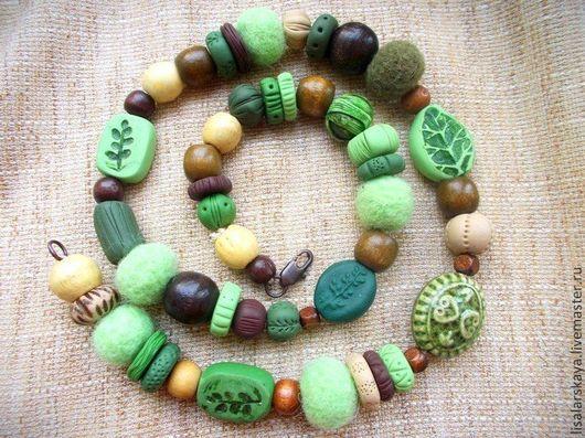 Колье, бусы ручной работы. Ярмарка Мастеров - ручная работа. Купить Лесные бусы из разных материалов. Handmade. Зеленый, бусы