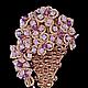 Брошь  кружевная `Весенние цветы` со Сваровски, фриволите, анкарс. Броши ручной работы.