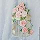 Цветы ручной работы. Ярмарка Мастеров - ручная работа. Купить Декоративная клетка с цветами, клетка с розами, клетка в розах. Handmade.