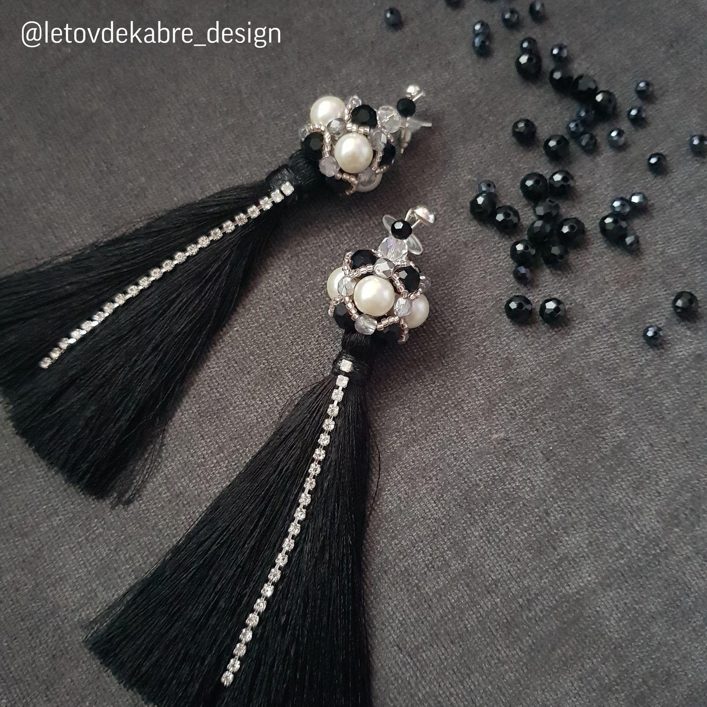 Сережки с черными бусинами Swarovski, Серьги-кисти, Санкт-Петербург,  Фото №1