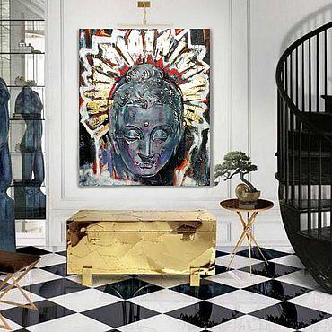 """Картины и панно ручной работы. Ярмарка Мастеров - ручная работа """"Будда Вайрочана"""" Золото Картина маслом  Современная картина. Handmade."""