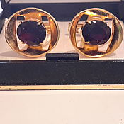 Винтаж handmade. Livemaster - original item GARNET cufflinks 1960s vintage CZECHOSLOVAKIA gold,Nickel silver,new. Handmade.