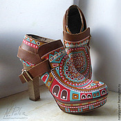 handmade. Livemaster - original item Painting on shoes. Ankle Boots