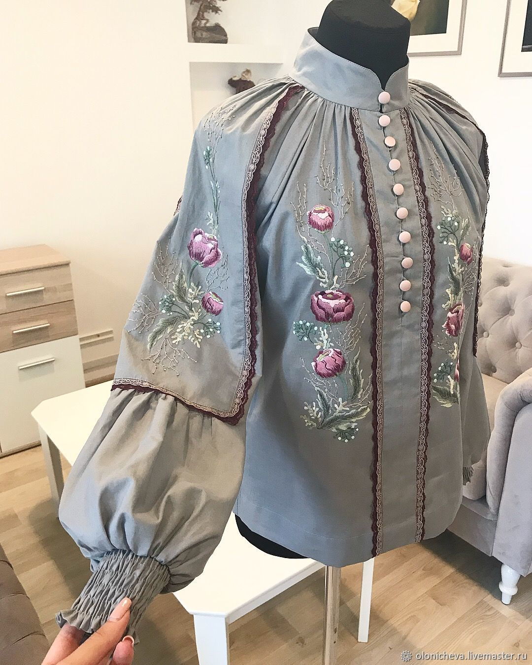 Blouse with hand embroidery ' Lace flowers - in gray', Blouses, Vinnitsa,  Фото №1
