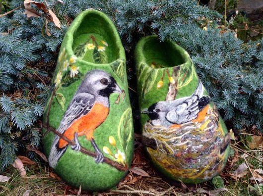 Обувь ручной работы. Ярмарка Мастеров - ручная работа. Купить Тапочки «Забота»  46 размер (31см.). Handmade. Зеленый