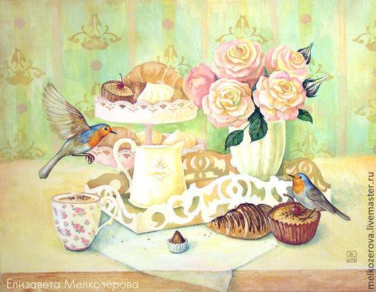 """Натюрморт ручной работы. Ярмарка Мастеров - ручная работа. Купить Шебби картина """"Нежное утро"""" салатовый белый розовый розы птицы. Handmade."""