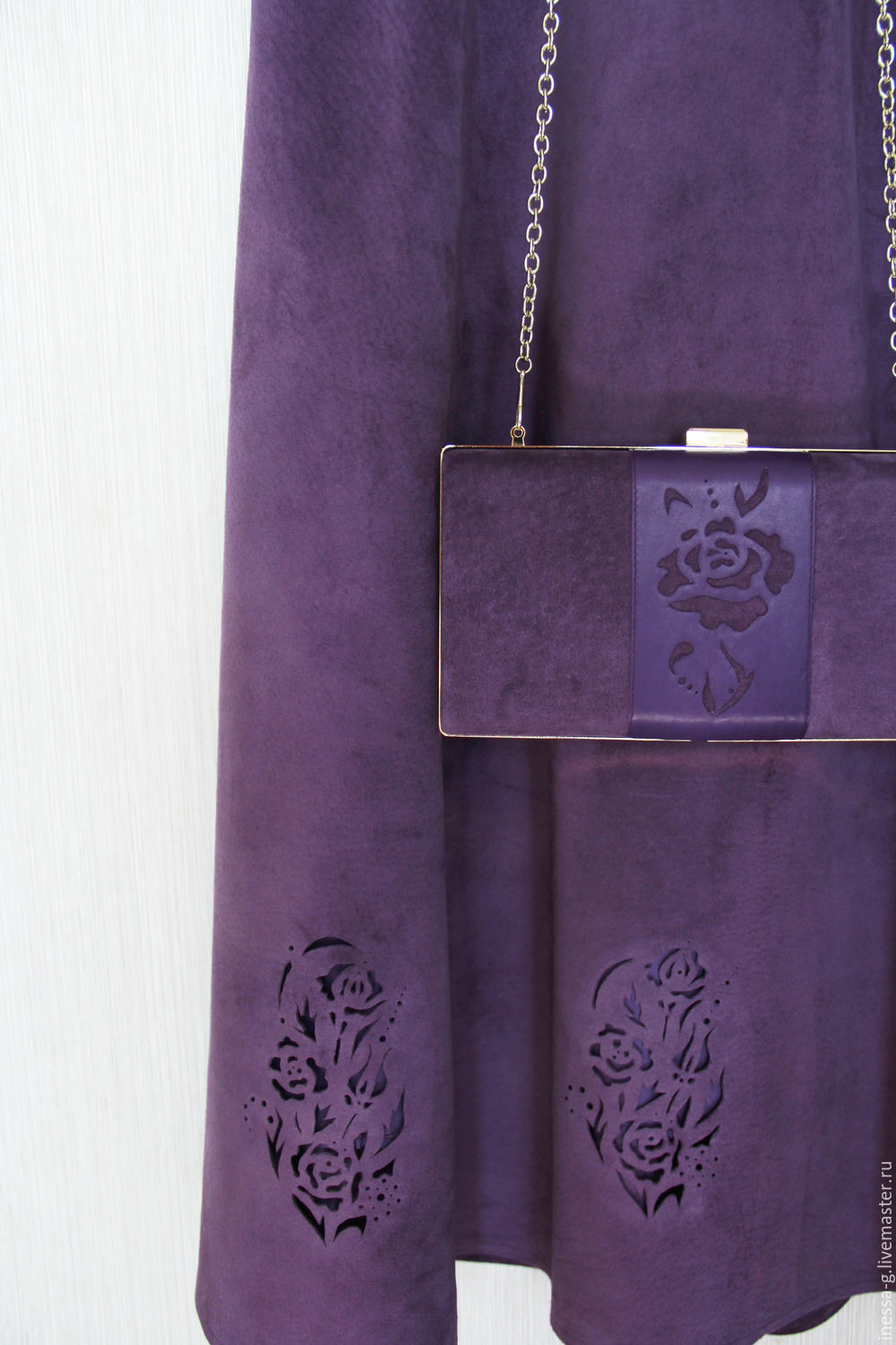 Costumes handmade. Livemaster - handmade. Buy Suit and clutch bag suede amethyst color.Lilac, suede leather suit