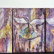"""Картины и панно ручной работы. Ярмарка Мастеров - ручная работа """"Феечки"""" модульная картина. Handmade."""