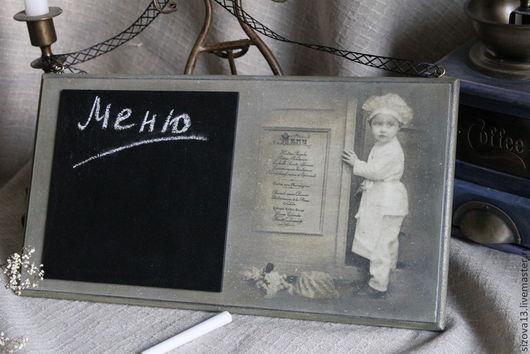 """Кухня ручной работы. Ярмарка Мастеров - ручная работа. Купить Грифельная доска """"Кушать подано"""". Handmade. Темно-серый"""