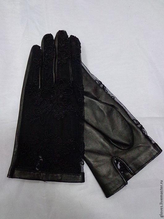 Варежки, митенки, перчатки ручной работы. Ярмарка Мастеров - ручная работа. Купить Перчатки женские кожаные без подкладки с гипюром. Handmade.