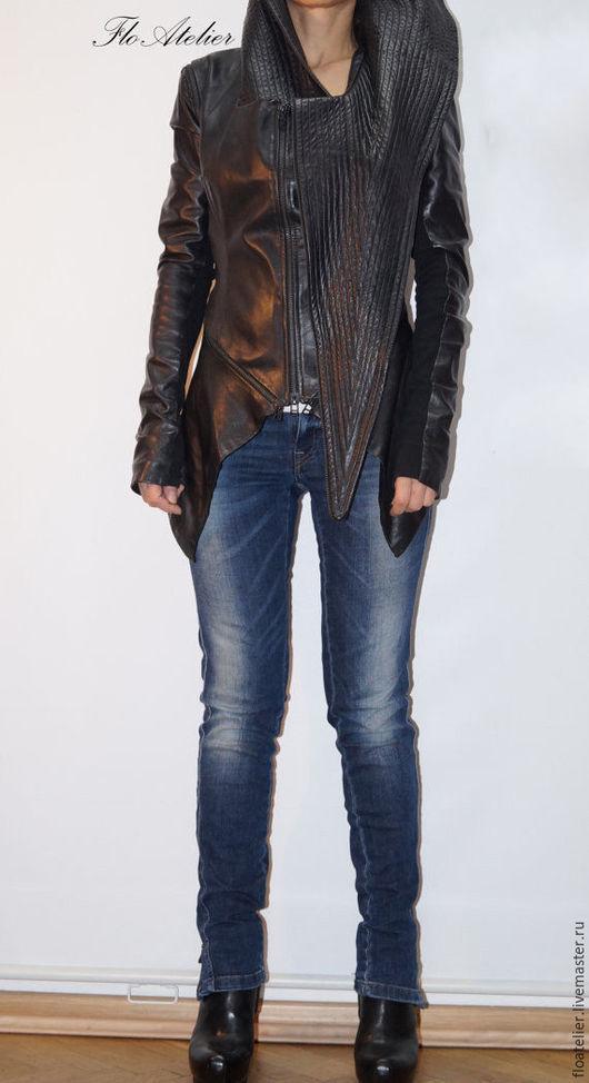 Верхняя одежда ручной работы. Ярмарка Мастеров - ручная работа. Купить Черная  куртка из эко кожи /Куртка со съемными рукавами/F1343. Handmade.